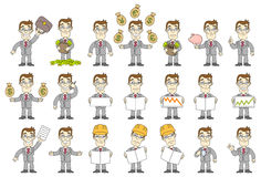 Business set. Business situations. Funny businessman. Vector illustration Stock Photography