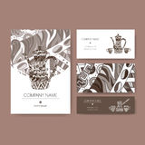 Business set based on coffee pot and cups with. Original business set with coffee pot and cups decorated with hand drawn ethnic pattern. Includes brochure and Royalty Free Stock Photo