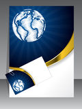 Business set in blue with gold wave Royalty Free Stock Image