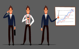 Business set. Businessman character. Vector illustration. Cartoon character businessman. Vector illustration Royalty Free Stock Image