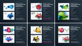 Business set of design brochure, abstract annual report, horizontal cover layout, flyer in A4 with vector colourful royalty free illustration