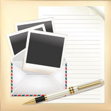 Business Set of Envelope, Paper and Pen. Royalty Free Stock Image
