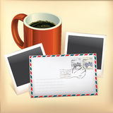 Business set envelope stamp and coffee cup. Stock Photos