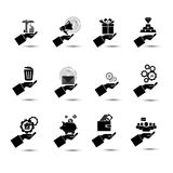 Business set in hand icons on white background. Vector business set in hand icons Stock Photography