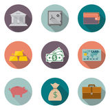 Business set 03. Money savings, banking services. set modern icons in a flat style isolated on white background. Collection of  financial items.  Vector Royalty Free Stock Images