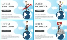 Business set of posters on blue. Vector illustration of best idea winner, men planning new project, businessmen on Earth globe and vector illustration
