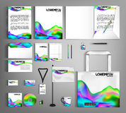 Business set stationery futuristic designs with fluid colors. Stock Photography