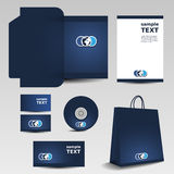 Business set - stationery template design. Blue Business set, stationery template design - Illustration in Freely Scalable & Editable Vector Format royalty free illustration