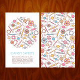 Business Set Template with Hand Drawn Candy Sweets Royalty Free Stock Photo