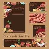 Business set template. Vector business set template with hand drawn dessert illustrations. Restaurant or cafe branding elements Royalty Free Stock Images