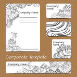 Business set template. Vector business set template with hand drawn dessert illustrations. Restaurant or cafe branding elements Stock Image