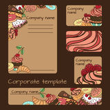Business set template. Vector business set template with hand drawn dessert illustrations. Restaurant or cafe branding elements Stock Photos