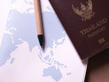 Business set of thailand passport and map in concept travel notebook.  stock photography