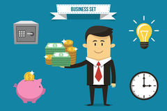 Business set. Vector businessman with set of icons. Each object can be placed in his hand Stock Photos