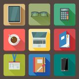 Business set of workplace icons royalty free illustration