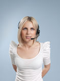 Business - Sexy call center operator isolated Royalty Free Stock Photo