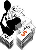 Business shadow man. Illustration shadow man cartoon holding a lot of money Stock Photos