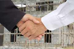 Business shake hand. For construction Royalty Free Stock Photo