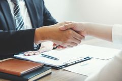 Business Shaking hands  greeting new colleagues after during job interview Concept royalty free stock photography