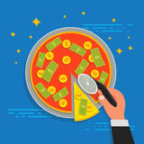 Business shareholder concept in flat style. Vector. Of businessman stockholder cutting off money pizza. Investment or share in company Stock Image