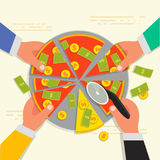 Business shareholder concept in flat style. Vector illustation. Of businessman stockholder cutting off money pizza. Investment or share in company Royalty Free Stock Image