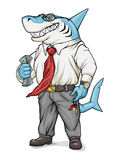 Business Shark. Shark-businessman is holding money and smiling Royalty Free Stock Photo