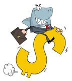 Business shark businessman riding on a dollar Royalty Free Stock Photography