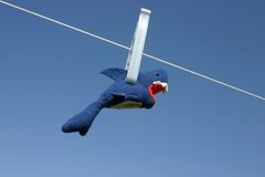 Business shark failure. Toy shark hanging on the clothesline. Business shark failure concept Stock Photo