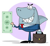 Business shark holding cash Stock Images