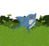 Business shark. Marine predator swimming in money. Green Wave do Royalty Free Stock Photo