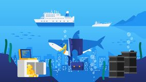 Business Shark in Ocean. City in Ocean. Safe with Gold Barrels o. F Oil. Tourist Ship and Yacht. Vector Illustration royalty free illustration