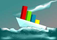 Business ship in a stormy sea Royalty Free Stock Photography