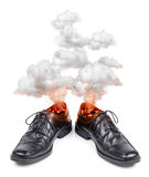 Business shoes burning hot Stock Photos