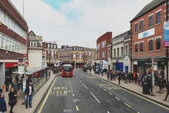 Business and shopping area on Eden Street, Kingston upon Thames in Greater London, England. Kingston upon Thames, United Kingdom - April 2018: Business and Stock Photography