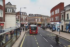 Business and shopping area on Eden Street, Kingston upon Thames in Greater London, England. Kingston upon Thames, United Kingdom - April 2018: Business and Stock Photos