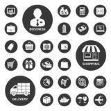 Business, shopping and delivery icon set. 27 Business, shopping and delivery icons. Vector illustration Stock Image