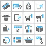 Business and shopping icons. Set of 16 business icons and shopping icons Royalty Free Stock Photos