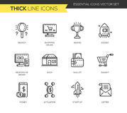 Business, shopping modern thick line design icons set. Business and shopping - set of modern vector plain line design icons and pictograms. Search, shopping Stock Images