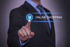 Business Shopping Online Shopping. Working with virtual screen touch internet Royalty Free Stock Image