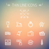 Business shopping thin line icon set. For web and mobile. Set includes-broken glass wine, free delivery van, stack of money, vintage cash register, trolley Stock Photo