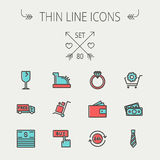 Business shopping thin line icon set. For web and mobile. Set includes - broken glass wine, free delivery van, stack of money, vintage cash register, trolley Stock Photography