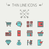 Business shopping thin line icon set Royalty Free Stock Photo