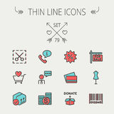 Business shopping thin line icon set Royalty Free Stock Image