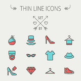 Business shopping thin line icon set Royalty Free Stock Images