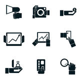 Business shopping and travel hands isolated icons Royalty Free Stock Images