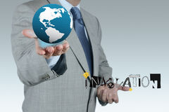 Business show globe with hand drawn graphic Stock Photo