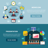 Business Showcase Presentation Banners. Set of two business workflow horizontal banners with round compositions of icons with read more button vector Royalty Free Stock Photo