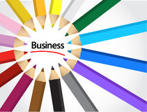 Business sign around pencil colors illustration Stock Photo