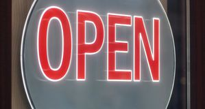 Business sign OPEN hanging on the door royalty free illustration