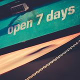 Open Seven Days Sign. Business with Sign Open Seven Days a Week Stock Image